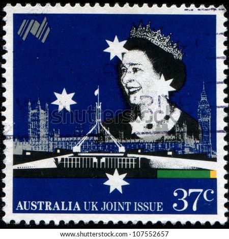 AUSTRALIA - CIRCA 1988: A stamp printed in Australia shows Queen Elizabeth II, circa 1988 - stock photo