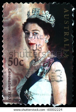 AUSTRALIA - CIRCA 2003 A stamp printed in Australia shows Queen Elizabeth II in crown, circa 2003 - stock photo