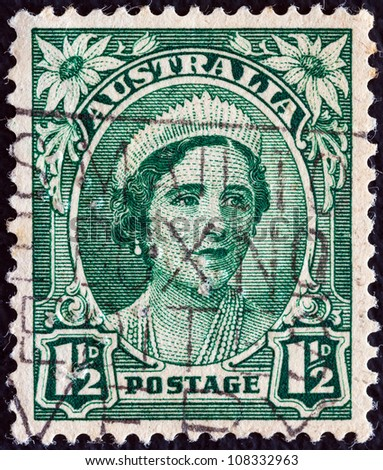 AUSTRALIA - CIRCA 1942: A stamp printed in Australia shows Queen Elizabeth the Queen mother, circa 1942. - stock photo