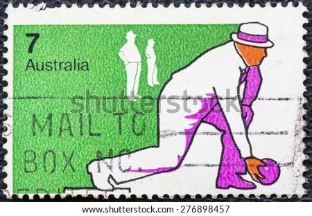 AUSTRALIA - CIRCA 1974: A Stamp printed in AUSTRALIA shows the Bowls, Sport series, circa 1974 - stock photo