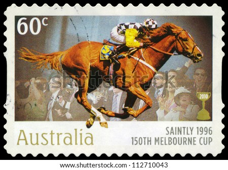 AUSTRALIA - CIRCA 2010: A Stamp printed in AUSTRALIA shows the Saintly, 1896 Winner, 150th Melbourne Cup issue, circa 2010 - stock photo