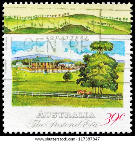 AUSTRALIA - CIRCA 1989: A Stamp printed in AUSTRALIA shows the Squatters Homestead, Pastoral Era series, circa 1989 - stock photo