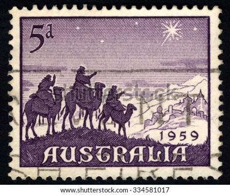 AUSTRALIA - CIRCA 1959: A stamp printed in the Australia shows Approach of the Magi, Christmas, circa 1959 - stock photo