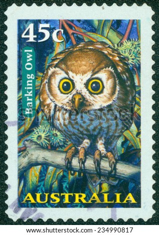 AUSTRALIA - CIRCA 1997: a stamp printed in the Australia shows Barking Owl, Ninox Connivens, Nocturnal Bird, circa 1997 - stock photo