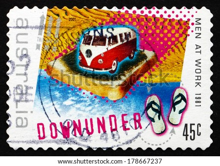 AUSTRALIA - CIRCA 2001: a stamp printed in the Australia shows Down Under, by Men at Work, 1981, Rock Music - stock photo