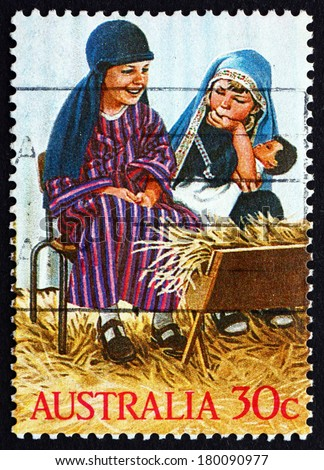 AUSTRALIA - CIRCA 1986: a stamp printed in the Australia shows Holy Family, Kindergarten Nativity Play, Christmas, circa 1986 - stock photo