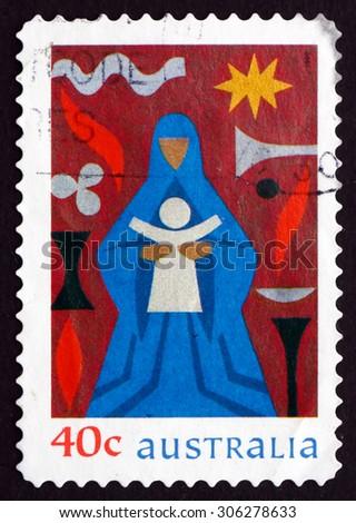 AUSTRALIA - CIRCA 1999: a stamp printed in the Australia shows Madonna and Child, Christmas, circa 1999 - stock photo