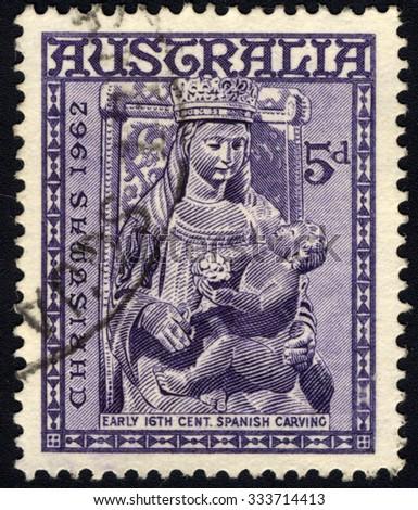 AUSTRALIA - CIRCA 1962: A stamp printed in the Australia, shows Madonna and Child, Christmas, circa 1962  - stock photo