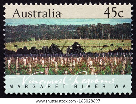 AUSTRALIA - CIRCA 1992: a stamp printed in the Australia shows Margaret River, Western Australia, Vineyard Region, circa 1992 - stock photo