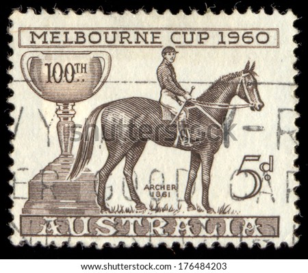 AUSTRALIA - CIRCA 1960: a stamp printed in the Australia shows Melbourne Cup and Archer, 1862 Winner, Centenary of the Melbourne Cup, circa 1960 - stock photo