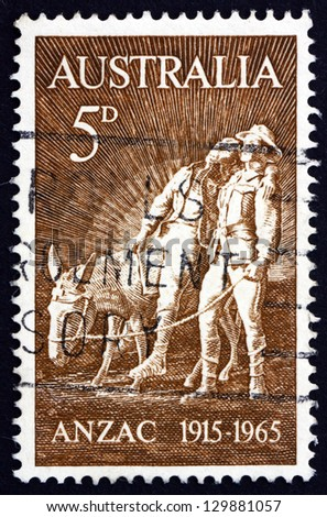 AUSTRALIA - CIRCA 1963: a stamp printed in the Australia shows Simpson and his Donkey, by Wallace Anderson, 50th Anniversary of the Battle of Gallipoli, Turkey, circa 1963 - stock photo