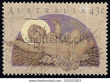 AUSTRALIA - CIRCA 1991: Postage stamp printed in Australia, Christmas Issue, shows Baby Jesus, circa 1991 - stock photo