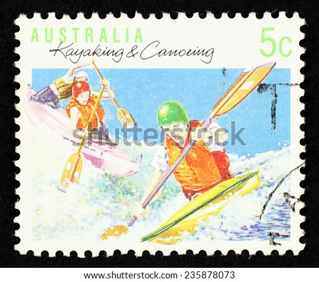 AUSTRALIA - CIRCA 1990: Postage stamp printed in Australia with image of kayakers in a stream. - stock photo