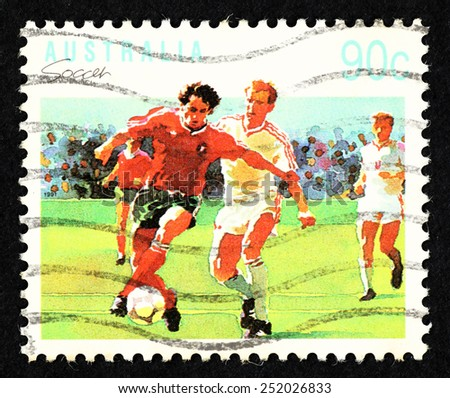 AUSTRALIA - CIRCA 1991: Postage stamp printed in Australia with image of soccer players.  - stock photo