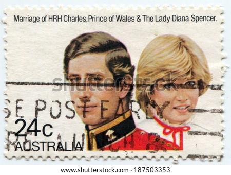 AUSTRALIA, CIRCA 1981:  Postal stamp commemorating the royal wedding of Prince Charles and Lady Diana Spencer, circa 1981 - stock photo