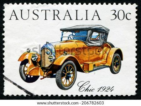 AUSTRALIA - CIRCA 1984: stamp printed by Australia, shows Australian-made vintage car, circa 1984 - stock photo