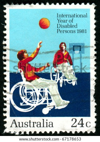 AUSTRALIA - CIRCA 1981: stamp printed by Australia, shows Disabilities to play basketball, circa 1981 - stock photo