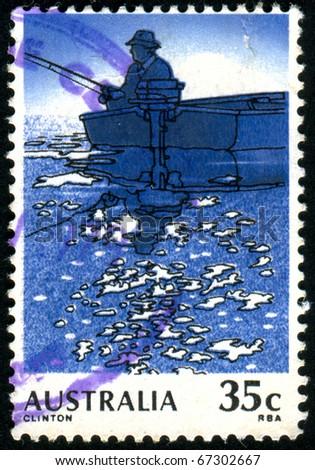 AUSTRALIA - CIRCA 1979: stamp printed by Australia, shows Fishing, circa 1979 - stock photo