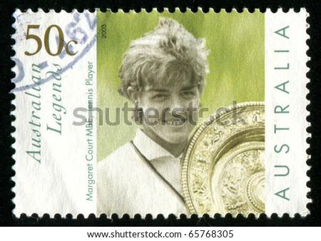 AUSTRALIA - CIRCA 2003: stamp printed by Australia, shows Margaret Court with Wimbledon trophy, circa 2003 - stock photo