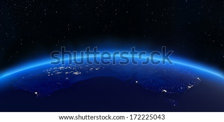 Australia city lights map. Elements of this image furnished by NASA - stock photo