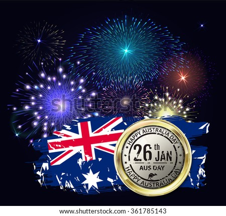 Australia day with emblem and flag. Colorful fireworks on black background. Night sky with stars and salute for australia day in raster. Blue, green, yellow and red fireworks and explosion. - stock photo