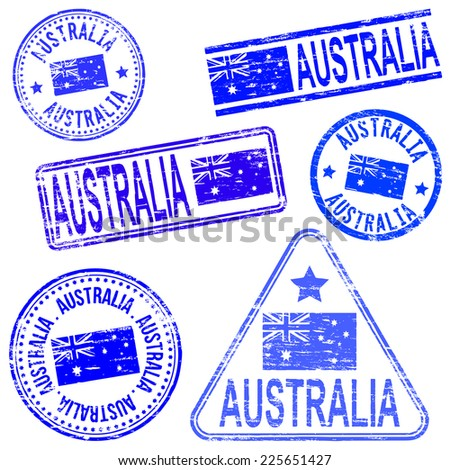 Australia different shaped rubber stamp illustrations  - stock photo