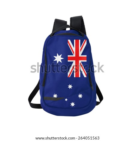 Australia flag backpack isolated on white background. Back to school concept. Education and study abroad. Travel and tourism in Australia - stock photo