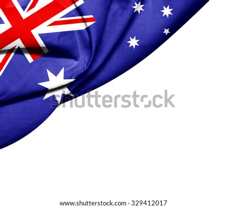 Australia   flag of silk with copyspace for your text or images and white background - stock photo
