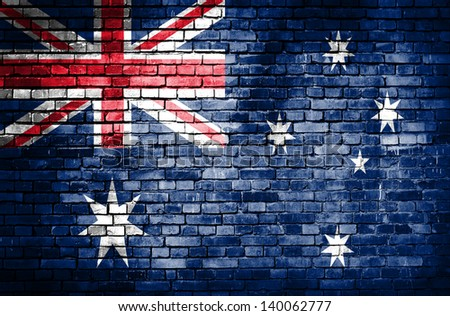 Australia flag on brick wall - stock photo