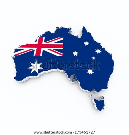 Australia flag on 3d map - stock photo