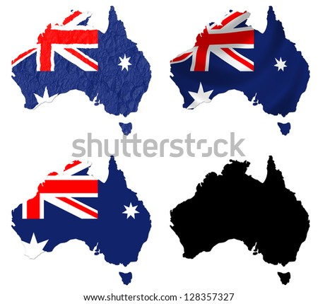Australia flag over map collage - stock photo