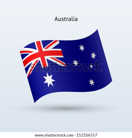 Australia flag waving form. See also vector version. - stock photo