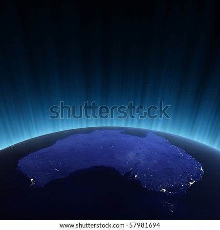 Australia from space. Maps from NASA imagery - stock photo