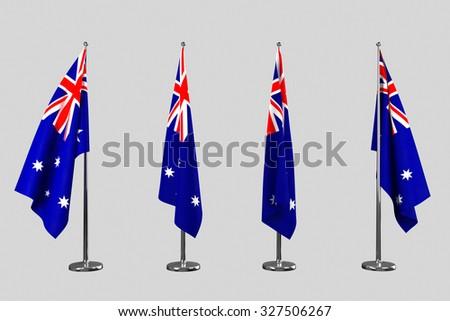 Australia indoor flags isolate on white background - stock photo