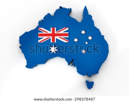 Australia map and flag isolated on white background - stock photo