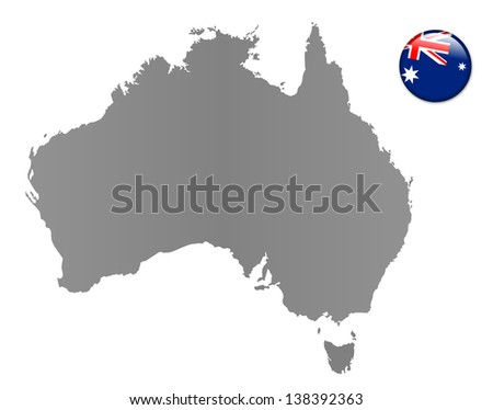 Australia - map with magnet in national colors - stock photo