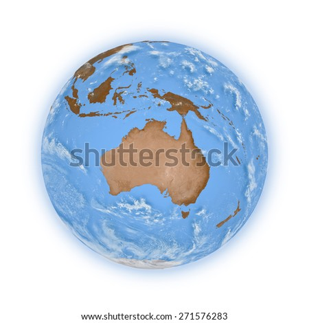 Australia on blue planet Earth isolated on white background. Highly detailed planet surface. Elements of this image furnished by NASA. - stock photo