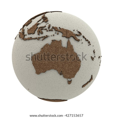 Australia on 3D model of planet Earth with oceans made of polystyrene and continents made of cork with embossed countries. 3D illustration isolated on white background. - stock photo