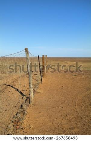 Australia, part of the 5300 km long dog fence - aka dingo fence - stock photo