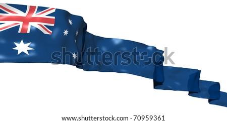 Australia ribbon flag isolated on white - stock photo