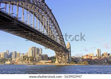 Australia's attraction and landmark the The Sydney Harbour Bridge - stock photo