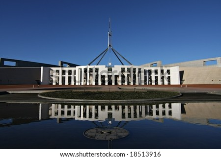 Australia's Parliament House and reflection - Canberra - stock photo