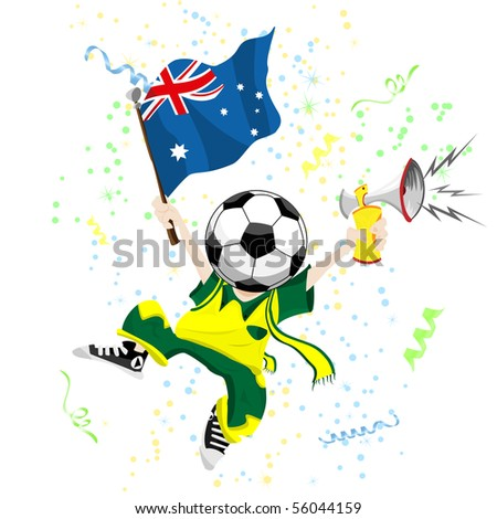 Australia Soccer Fan with Ball Head. - stock photo