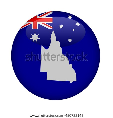Australia state of Queensland map button on a white background. - stock photo