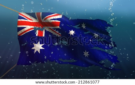 Australia Under Water Sea Flag National Torn Bubble 3D - stock photo
