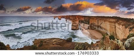 Australia Victoria Great Ocean road natural landmark 12 apostles at sunrise panoramic view from lookout - stock photo