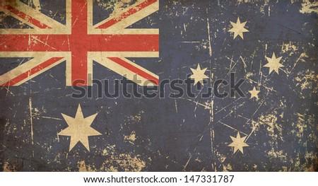 Australian Aged Flat Flag. Illustration of an rusty, grunge, aged Australian flag. - stock photo