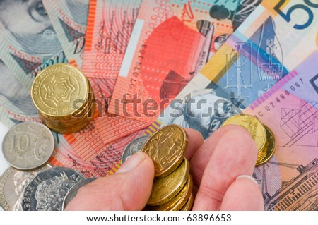Australian banknotes and coins - stock photo