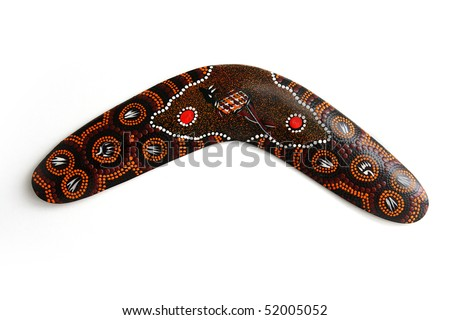 Australian Boomerang with beautiful design. Isolated on white. - stock photo