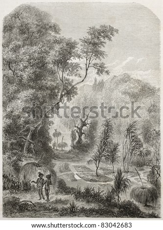 Australian burials in the forest, old illustration. Created by Lancelot after Mitchell, published on Le Tour du Monde, Paris, 1860 - stock photo